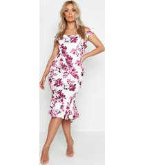 plus floral bardot fishtail ruffle midi dress, blush