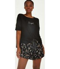 hunkemöller ditzy blommönstrat kort pyjamasset svart