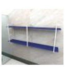 prateleira industrial banheiro aço cor branco 180x30x68cm (c)x(l)x(a) cor mdf azul modelo ind37azb