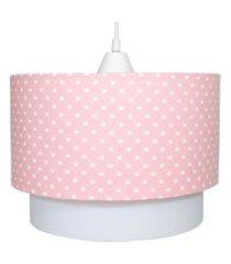 lustre tubular duplo coroa rosa quarto bebê infantil menina potinho de mel