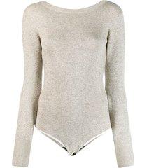 forte forte knitted boat neck bodysuit - neutrals