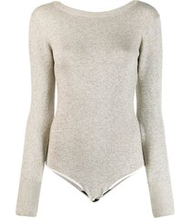 forte forte knitted boat neck bodysuit - neutrals