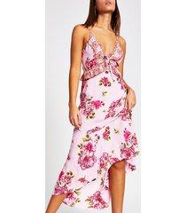 river island womens pink floral plunge neck maxi beach dress