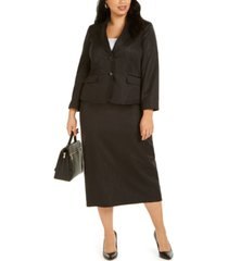 le suit plus size shimmering two-button notched-collar skirt suit