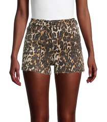 high-rise leopard-print denim shorts