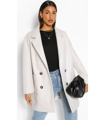 oversized nepwollen jas met dubbele knopen, crème