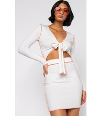 akira roll through ribbed tie front crop top