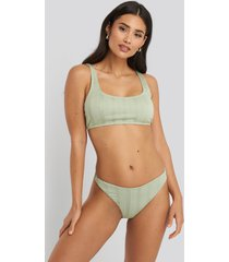 na-kd swimwear wide ribbed highcut bikini briefs - green