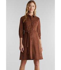 vestido midi de suede marrón esprit