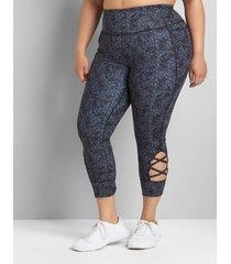 lane bryant women's livi high-rise livi soft capri legging with pockets - hem detail 34/36 earthly maze print