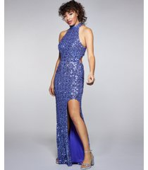 b darlin juniors' sequined open-back high-low gown