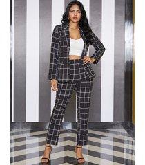 yoins black elastic strap grid high-waisted pants