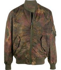 yves salomon army tie dye print bomber jacket - green