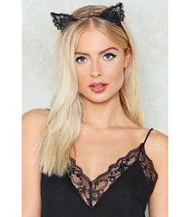 womens purr-anormal lace headband - black
