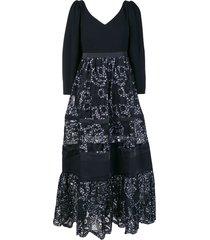 three floor forest long dress - black