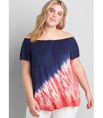 lane bryant women's americana tie-dye off-the-shoulder subtle swing top 34/36 night sky