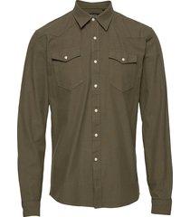 cotton pocket shirt l/s skjorta casual grön shine original