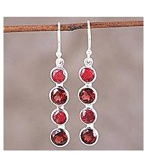 ruby and garnet dangle earrings, 'trendy orbs' (india)