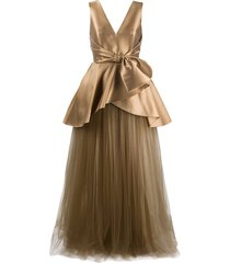 alberta ferretti satin and tulle gown - gold