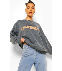 oversized washed california sweater met tekst, charcoal
