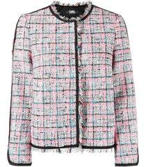 karl lagerfeld summer boucle tweed jacket - white
