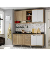cozinha compacta completa multimã³veis com 4 peã§as sicãlia 5818 argila/branco - bege/incolor - dafiti