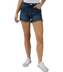 indigo rein juniors' curvy frayed-hem denim shorts