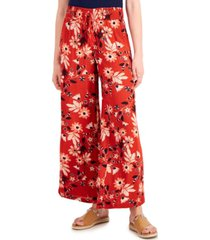 style & co printed smocked-waist wide-leg pants, created for macy's
