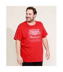 camiseta masculina plus size budweiser manga curta gola careca vermelha