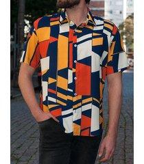 incerun estampado geométrico hawaiano para hombre camisa verano de manga corta elegante camisa