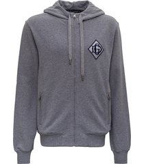 dolce & gabbana zip-up hoodie with monogram patch