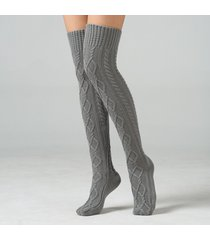 calze da donna acrilico sopra al ginocchio calza tinta unita doppio diamante coscia lunga calze