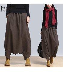 zanzea plus s-5xl verano de las mujeres de gran tamaño de cintura alta harem pantalones holgados pantalones cruz-pantalones casual danza pantalones flojos de hip-hop del café -marrón