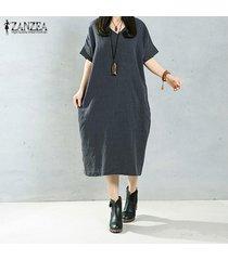 zanzea mujeres elegantes del vestido largo del o-cuello de manga larga bolsillos sólidos ocasionales flojas de la vendimia larga vestidos tamaño más 5xl gris -gris