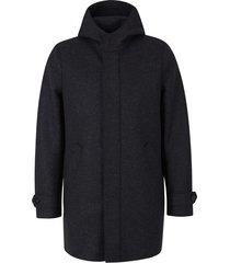 virgin wool coat with hood