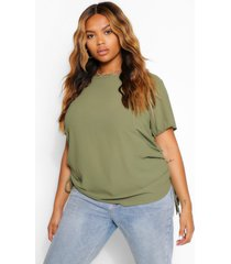 plus ruched side woven top, khaki