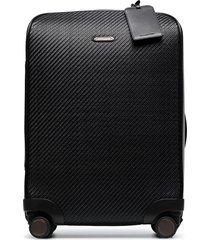 ermenegildo zegna pelletessuta four-wheel cabin suitcase - black