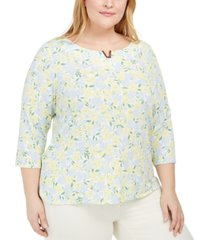 calvin klein plus size floral-print scoop-neck top