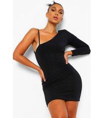getextuurde strakke mini jurk met veters en schouderpads, black