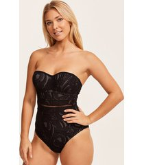 black lace underwire bandeau tummy control one-piece swimsuit b-g