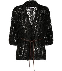 brunello cucinelli sequin embroidered cardigan - black