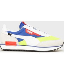 puma rider play on sneakers white