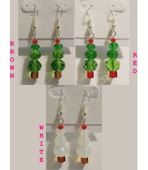 green red white christmas holiday tree earrings