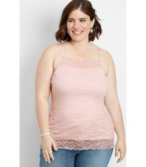 plus size - solid lace crinkle cami