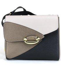 borsa a tracolla cromia luxury 1403445 nero+beige+bronzo