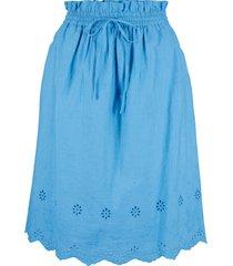 gonna in cotone con ricamo traforato (blu) - bpc bonprix collection