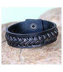 leather bracelet, 'black kingdom warrior' (indonesia)