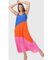 vestido azul vindaloo tricolor