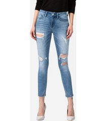 vervet women's mid rise distressed skinny ankle jeans