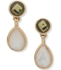 anne klein gold-tone stone & mother-of-pearl drop earrings